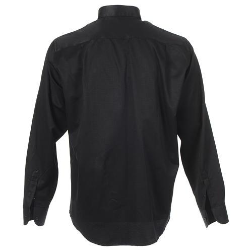 Camisa sacerdote jacquard preto manga longa 2