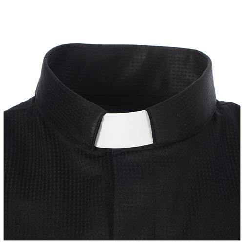 Camisa sacerdote jacquard preto manga longa 3