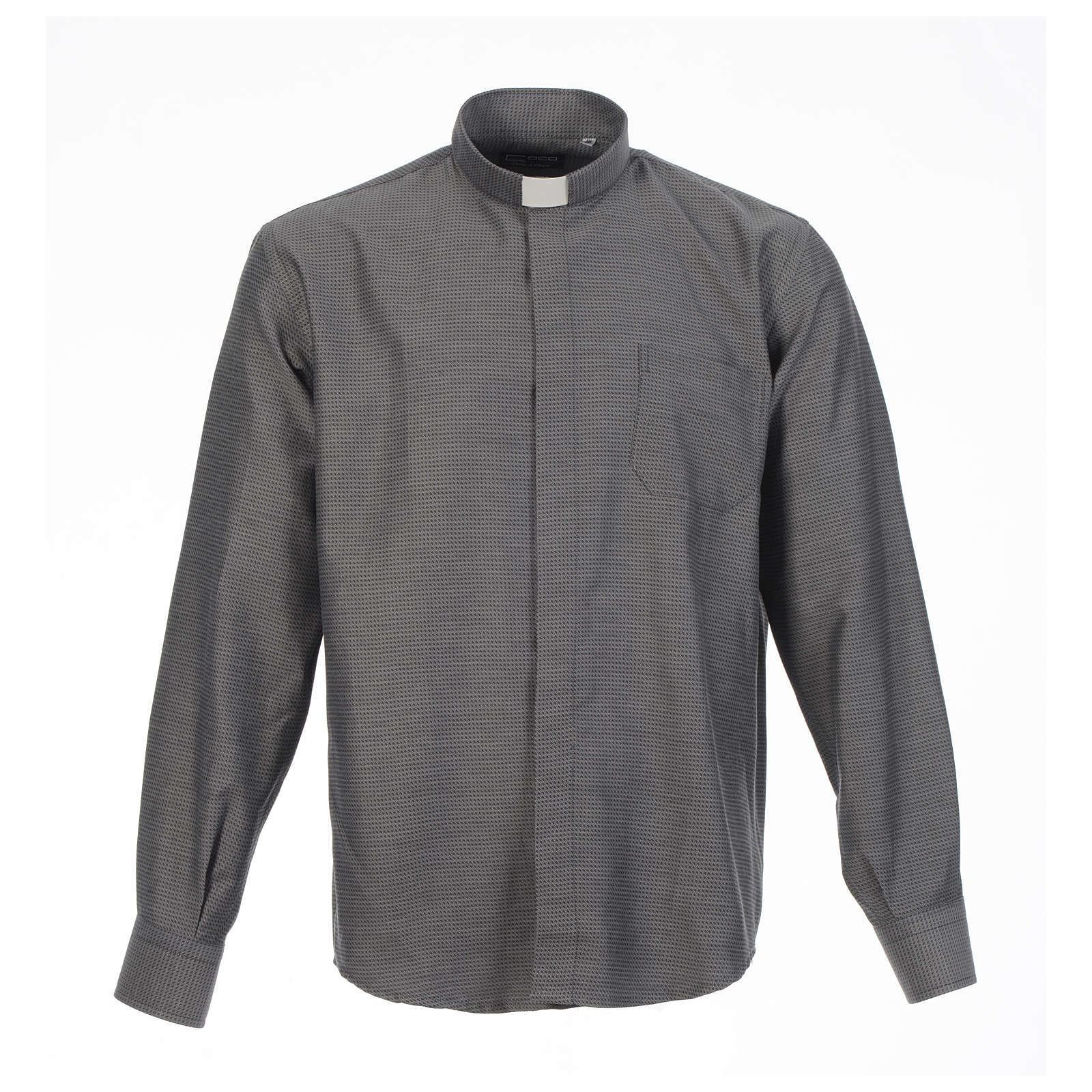 Clerical shirt and collar, grey jacquard, long sleeve 4