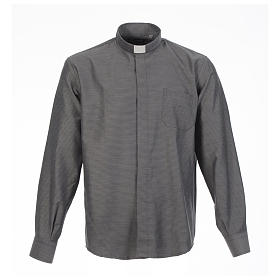 Clerical shirt and collar, grey jacquard, long sleeve s1