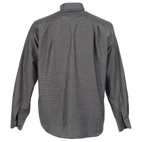 Clerical shirt and collar, grey jacquard, long sleeve s2