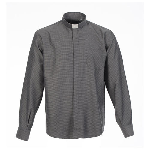Clerical shirt and collar, grey jacquard, long sleeve 1