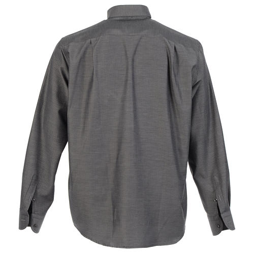Clerical shirt and collar, grey jacquard, long sleeve 2