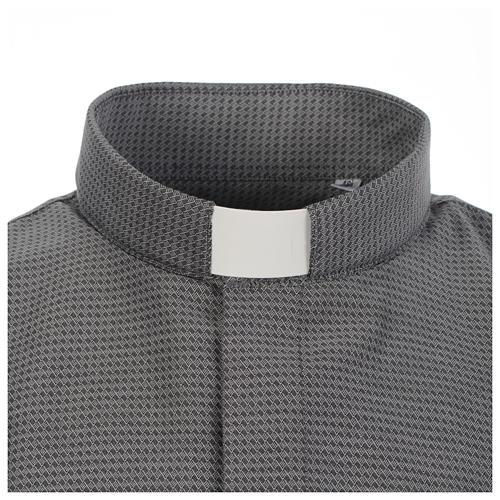 Camicia clergy jacquard grigio manica lunga 3