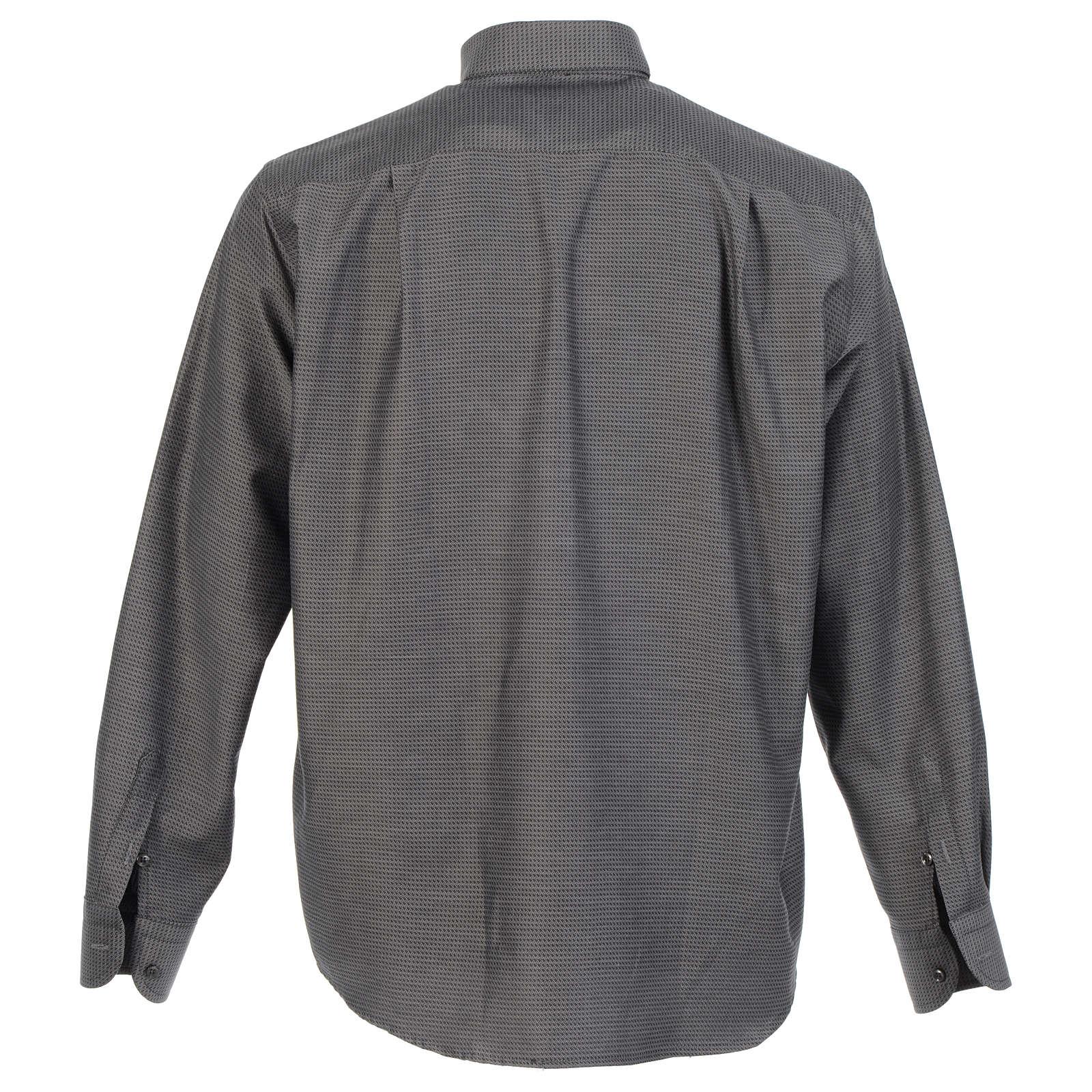 Long sleeve clergy shirt, grey jacquard 4