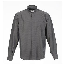 Long sleeve clergy shirt, grey jacquard s1