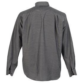 Long sleeve clergy shirt, grey jacquard s2