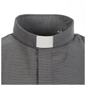 Long sleeve clergy shirt, grey jacquard s3