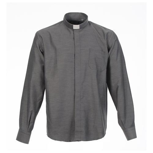 Long sleeve clergy shirt, grey jacquard 1