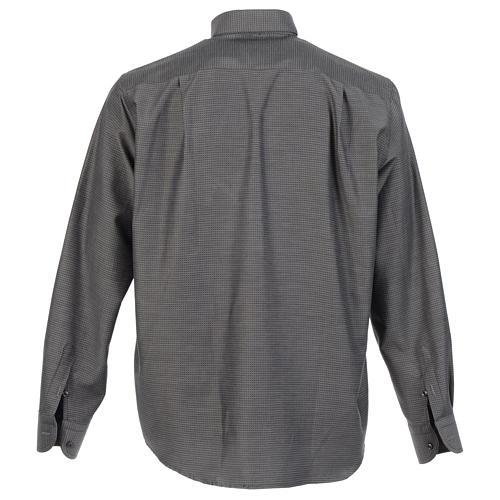 Long sleeve clergy shirt, grey jacquard 2