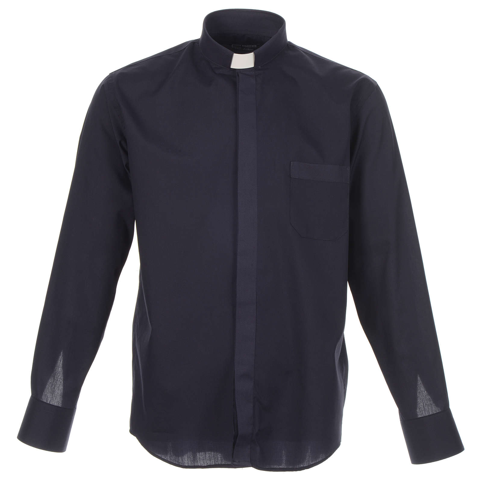 Clergy shirt solid colour and diagonal blue long sleeve 4