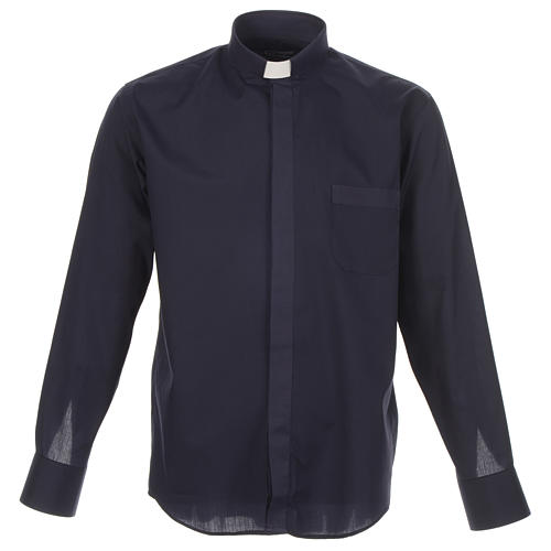 Clergy shirt solid colour and diagonal blue long sleeve 1
