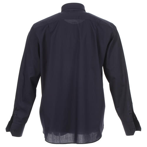 Clergy shirt solid colour and diagonal blue long sleeve 2