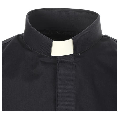 Clergy shirt solid colour and diagonal blue long sleeve 3