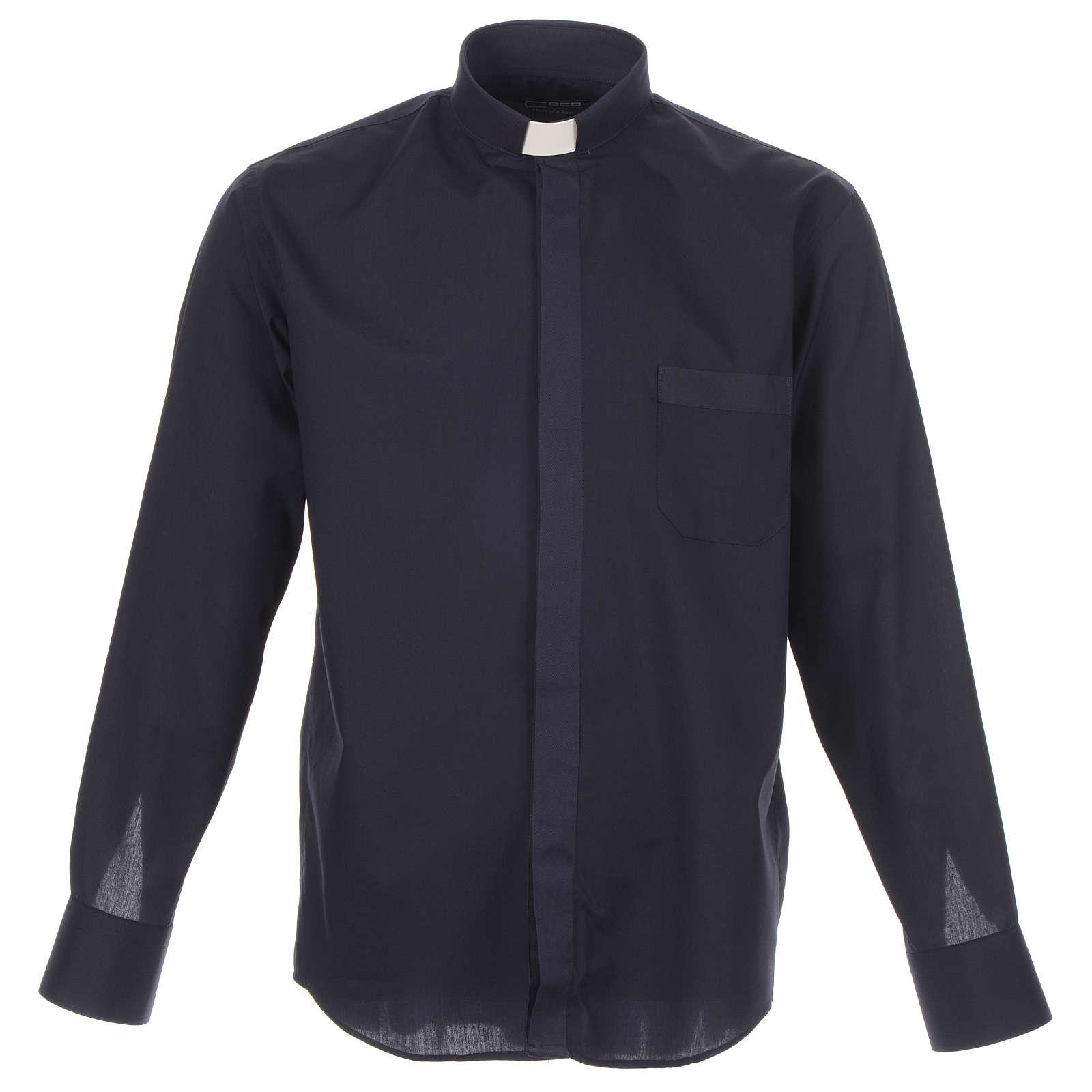 Camisa clergy diagonal azul manga larga 4