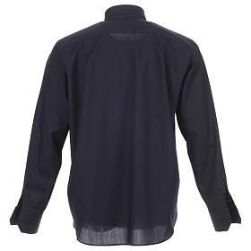 Camisa clergy diagonal azul manga larga s2