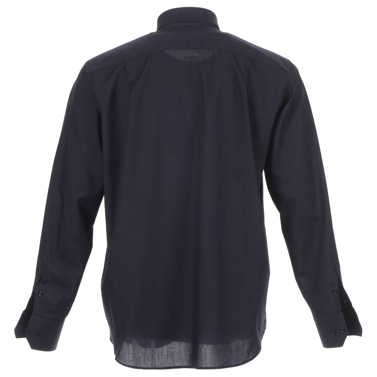 Camicia clergy tinta unita e diagonale blu manica lunga 4