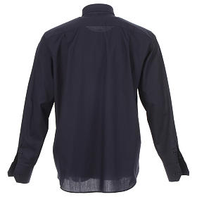 Camicia clergy tinta unita e diagonale blu manica lunga s2