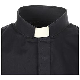 Camicia clergy tinta unita e diagonale blu manica lunga s3