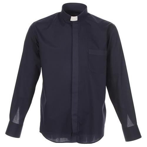 Camicia clergy tinta unita e diagonale blu manica lunga 1