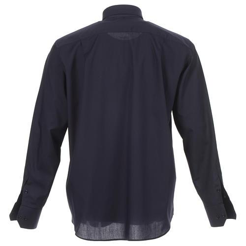 Camicia clergy tinta unita e diagonale blu manica lunga 2