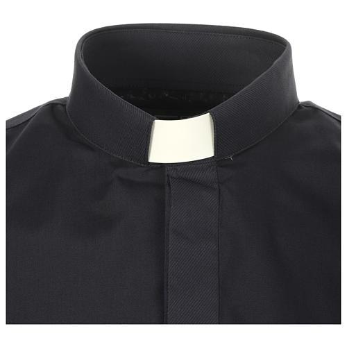 Camicia clergy tinta unita e diagonale blu manica lunga 3