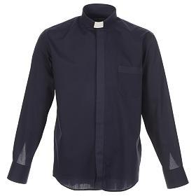 Camisas de Sacerdote: Camisa clergy uma cor sarja azul manga longa