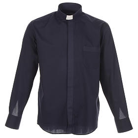 Clergy shirt solid colour and diagonal blue long sleeve s1