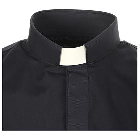 Clergy shirt solid colour and diagonal blue long sleeve s3