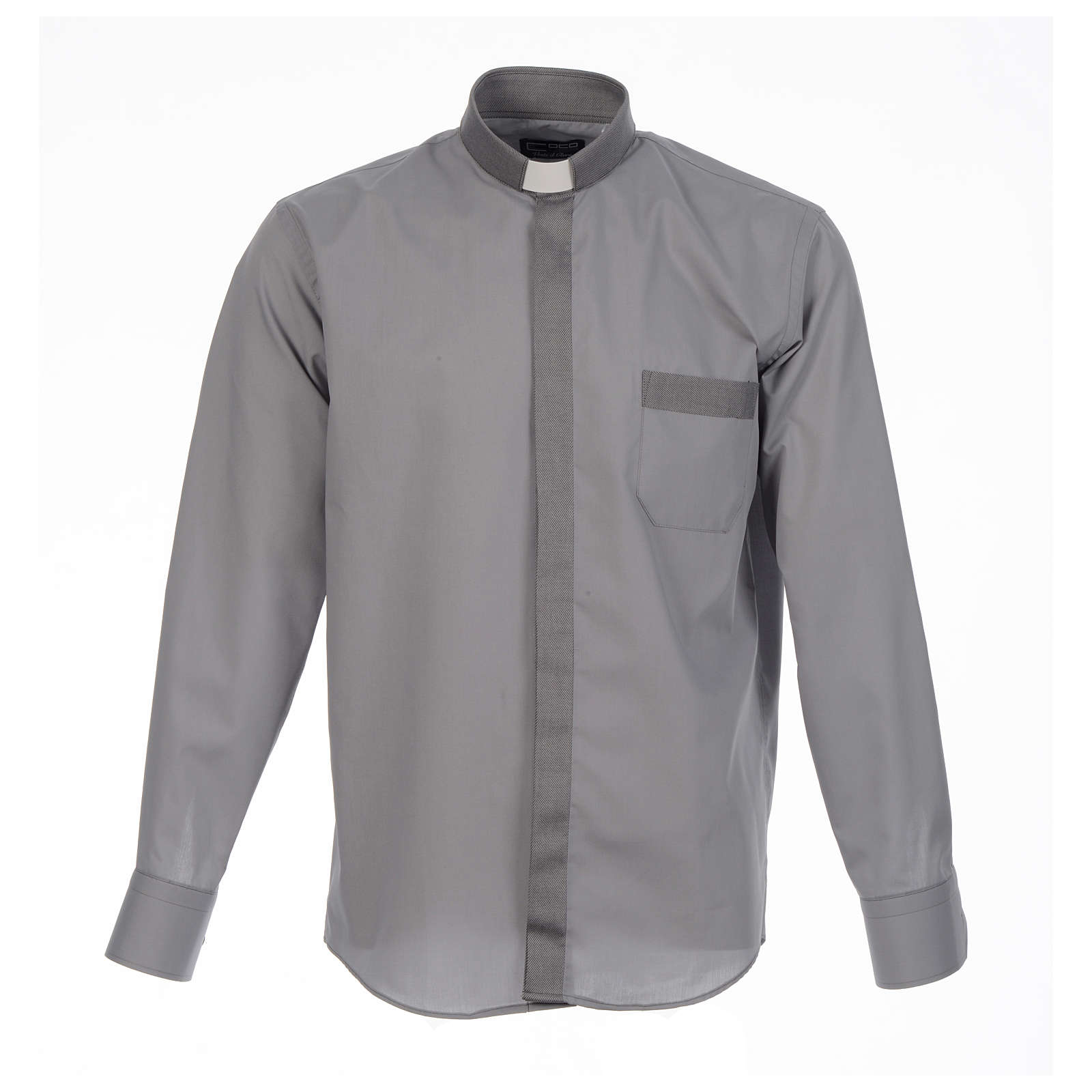 Clergy shirt solid colour and diagonal grey long sleeve 4