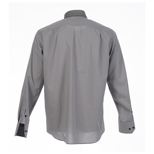 Clergy shirt solid colour and diagonal grey long sleeve 2