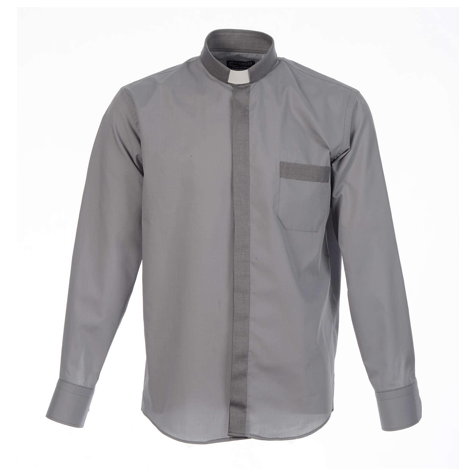 Camisa clergy sacerdote diagonal gris manga larga 4