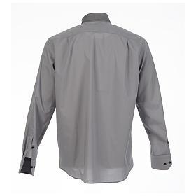 Camisa clergy sacerdote diagonal gris manga larga s2