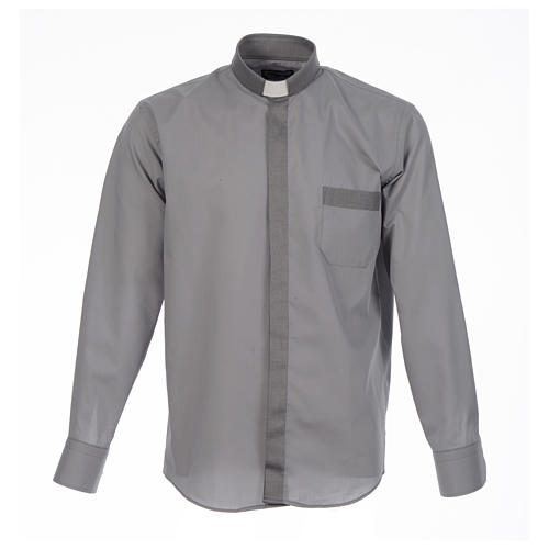 Camisa clergy sacerdote diagonal gris manga larga 1