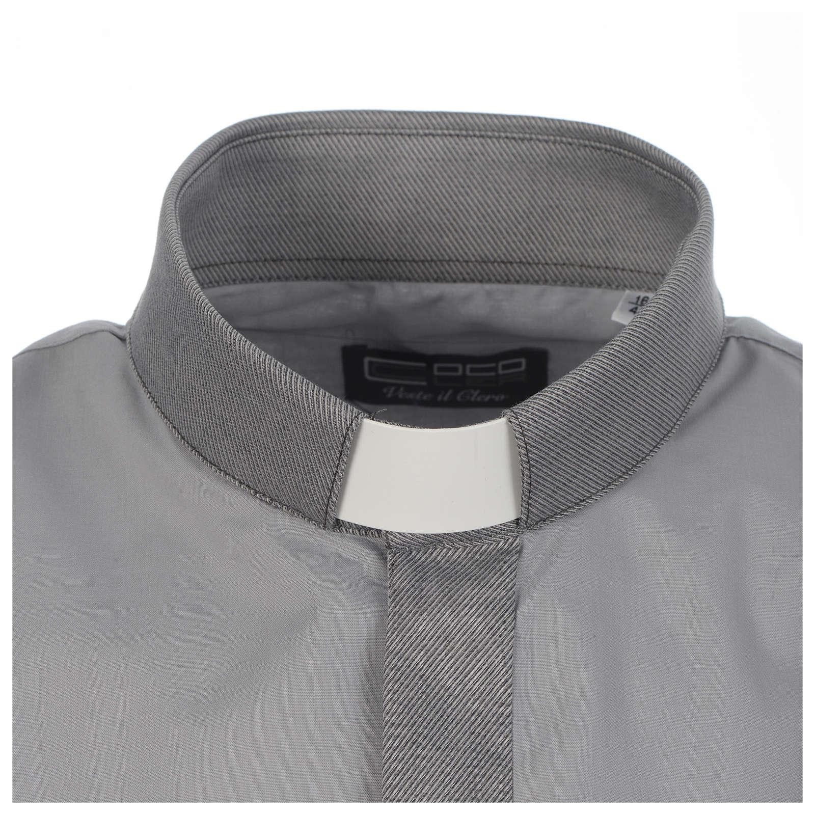 Chemise clergy unie et diagonal gris manches longues 4