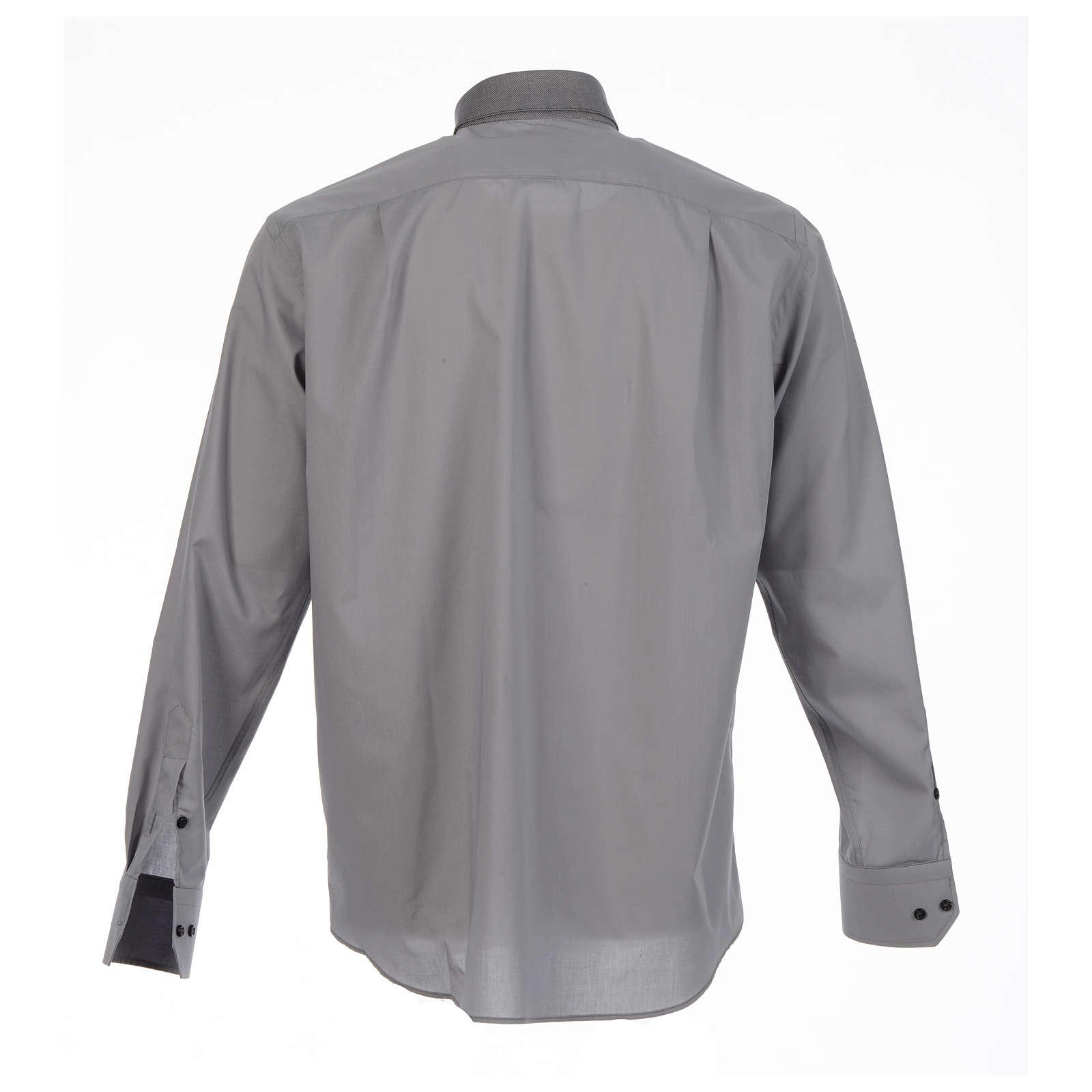 Camicia clergy tinta unita e diagonale grigio manica lunga 4