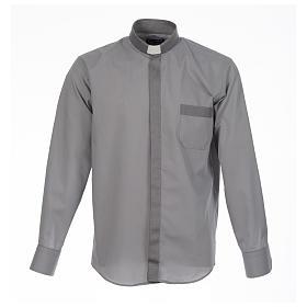 Camicia clergy tinta unita e diagonale grigio manica lunga s1