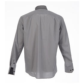 Camicia clergy tinta unita e diagonale grigio manica lunga s2
