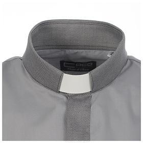 Camicia clergy tinta unita e diagonale grigio manica lunga s3