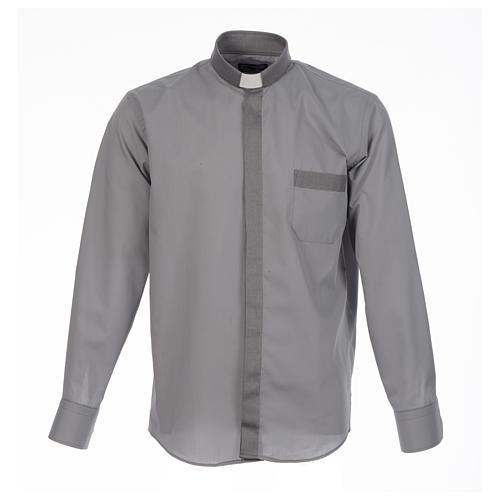 Camicia clergy tinta unita e diagonale grigio manica lunga 1