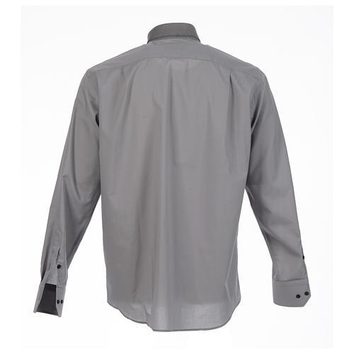 Camicia clergy tinta unita e diagonale grigio manica lunga 2