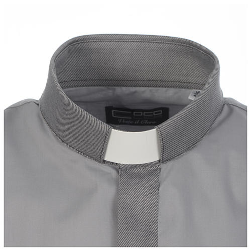 Camicia clergy tinta unita e diagonale grigio manica lunga 3