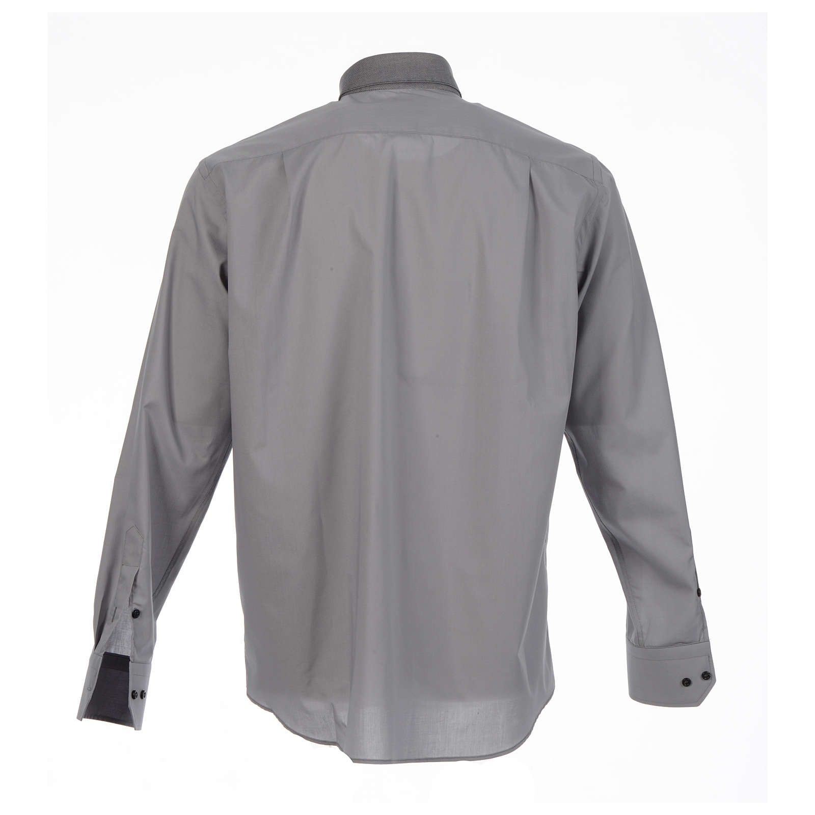 Catholic Clergy shirt solid color and diagonal grey long sleeve 4