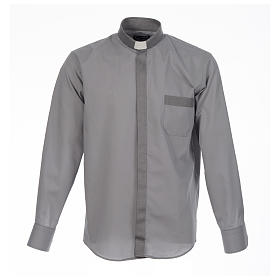 Catholic Clergy shirt solid color and diagonal grey long sleeve s1
