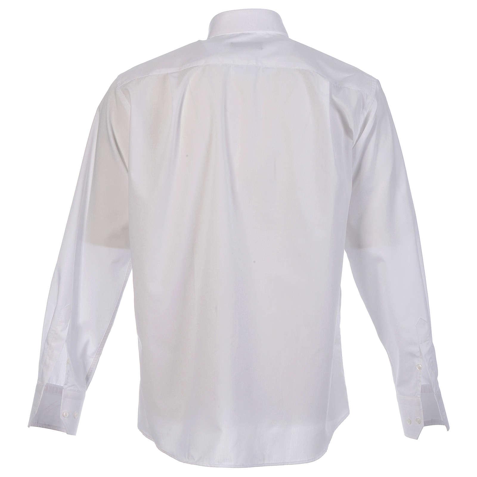 Collarhemd einfarbig mit feinen diagonalen Streifen Farbe Weiß Langarm 4