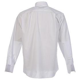 Collarhemd einfarbig mit feinen diagonalen Streifen Farbe Weiß Langarm s2