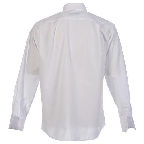 Collarhemd einfarbig mit feinen diagonalen Streifen Farbe Weiß Langarm 2
