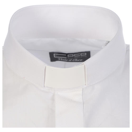 Clergy shirt solid colour and diagonal white long sleeve 3