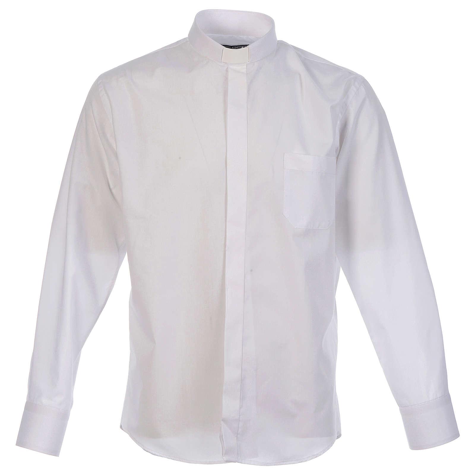 Camicia clergy tinta unita e diagonale bianco manica lunga 4