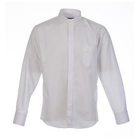 Camicia clergy tinta unita e diagonale bianco manica lunga s1